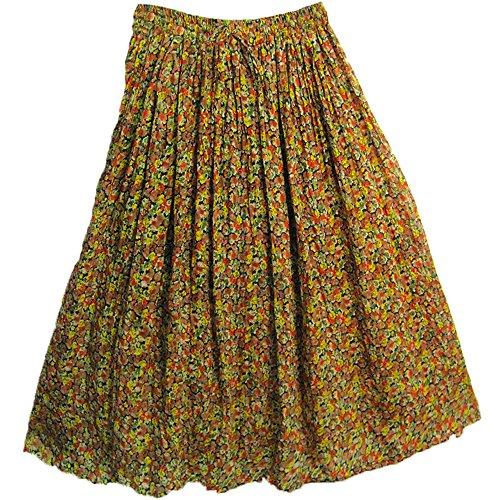 Multicolor Stippled Indian Gauze Cotton Crinkle Broomstick Long Skirt (Crinkle Gauze Skirt)