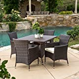 Great Deal Furniture Clementine Outdoor 5pc Multibrown Wicker Square Dining Set