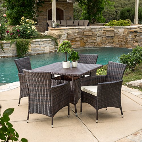 Clementine Outdoor 5pc Multibrown Wicker Square Dining Set (Wicker Dining Set)