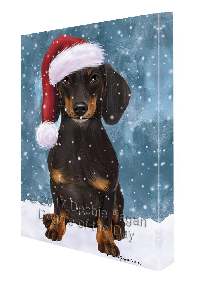 Let it Snow Christmas Holiday Dachshund Dog Wearing Santa Hat Canvas Wall Art D225 (18x24)