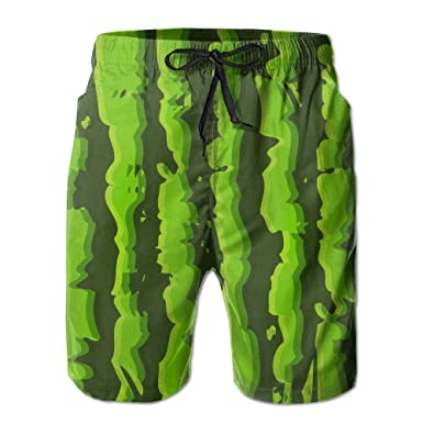 cf27f1a83b Beachsite Green Watermelon Seamless Men's/Boys Casual Swim Trunks Short  Elastic Waist Beach Pants With Pockets | Amazon.com