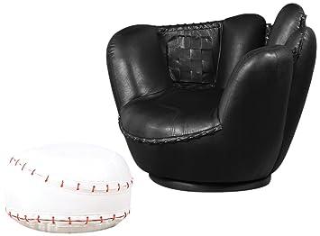 Tremendous Acme 2 Piece All Star Set Chair And Ottoman Baseball Inzonedesignstudio Interior Chair Design Inzonedesignstudiocom