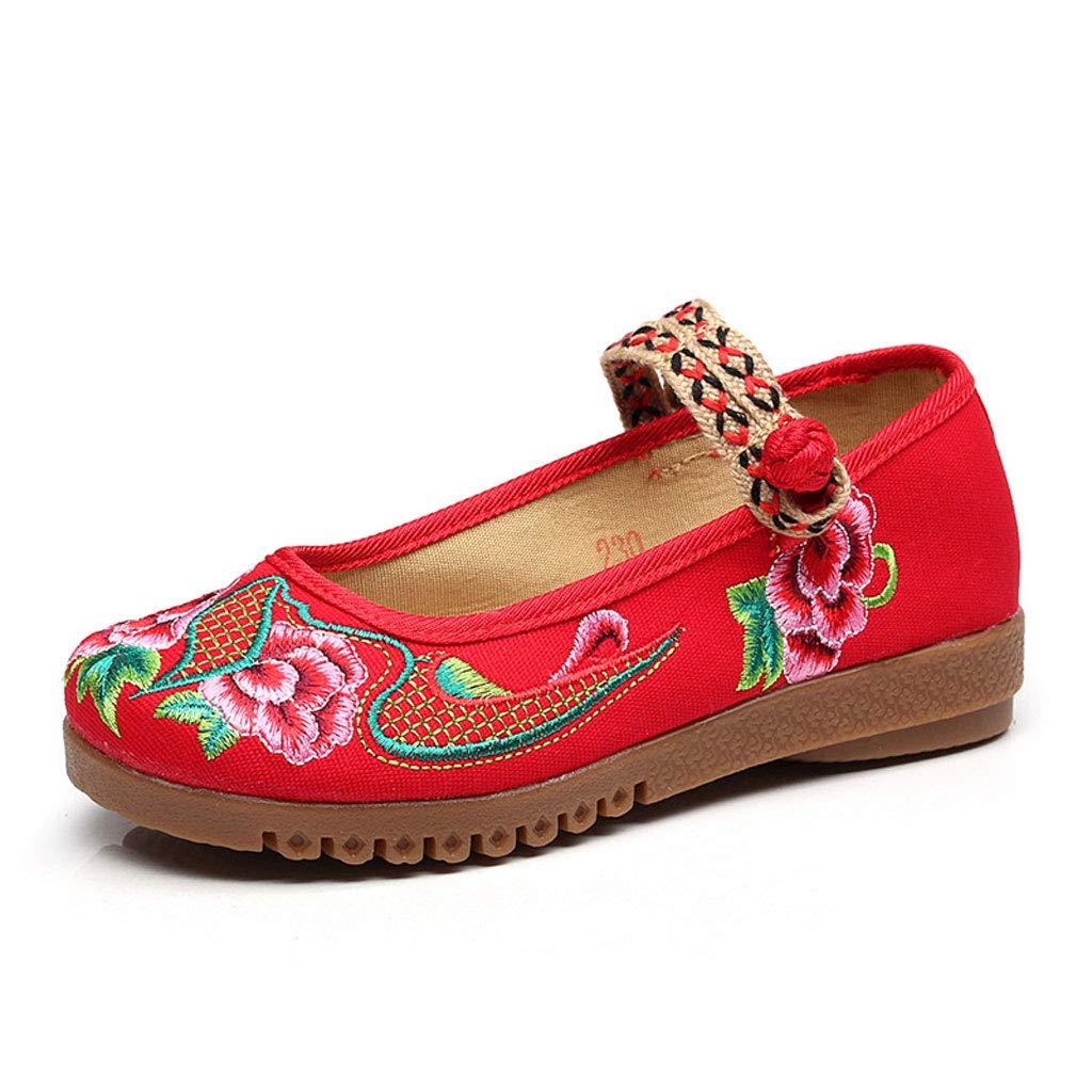XHX Chaussures 12317 Broderie Brodées pour Femmes Tissu Chaussures Plates en Tissu À Broderie Plates Chaussures De Ballet Élégantes (Couleur : Red, Taille : 39) Red 68eb4d7 - latesttechnology.space