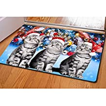 Antiskid 3D Cat Christmas Floor Ground Stickers Removable Waterproof Home Decor Bath MatCA5355U