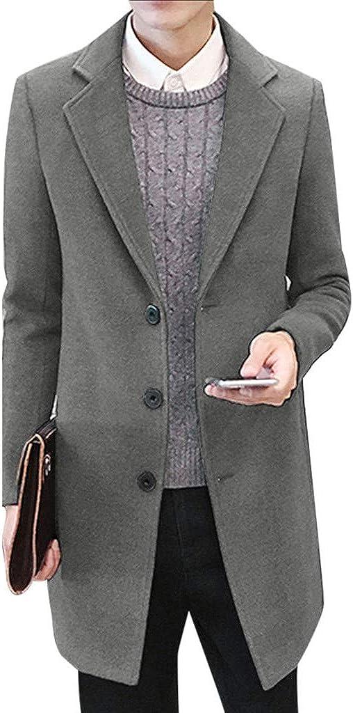 aliveGOT Mens Single Breasted Notch Lapel Long Winter Pea Coat Overcoat