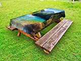 Lunarable Landscape Outdoor Tablecloth, View of National Park in China Arrow Bamboo Lake Autumn Colored Woods Mountains, Decorative Washable Picnic Table Cloth, 58 X 104 inches, Green Blue