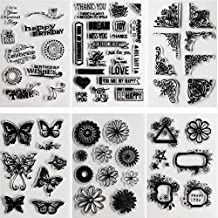 SOOKOO 6 Sheets Assorted Clear Stamps for Card Making Decoration and Scrapbooking, Flower Butterfly Friendly Phrases Clear Stamps (Style 01)