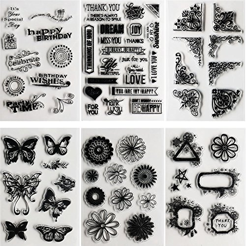 SOOKOO 6 Sheets Assorted Clear Stamps for Card Making Decoration and Scrapbooking, Flower Butterfly Friendly Phrases Clear Stamps Frames Clear Stamp Set
