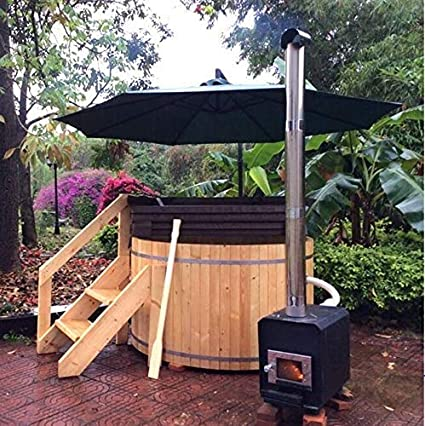 Canadiense Redwood Cedro 5 Outdoor Wood-Fired Hot Tub Sauna SPA Tina de baño, con Remo: Amazon.es: Jardín