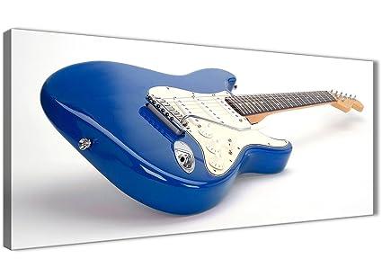 Azul Blanco Fender guitarra eléctrica – sala de estar lienzo pared arte accesorios – 1447 –