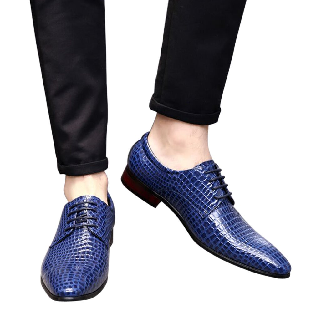 Blue Oxford Dress Shoes Men Pointed Toe Italy Alligator Patent Leather Lace Up Wedding Formal Derby Shoes 7 D(M) US by Santimon (Image #2)