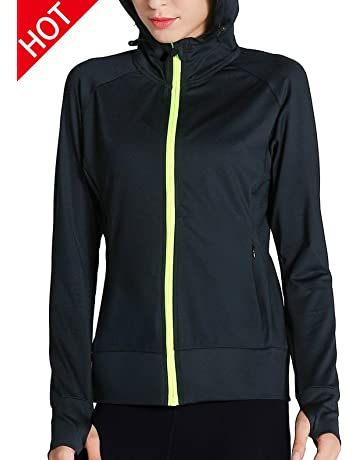 Fastorm Womens Full Zip Athletic Jacket Hoodie Activewear Workout  Sweatshirt Track Jackets with Thumb Holes c28ef0bef04
