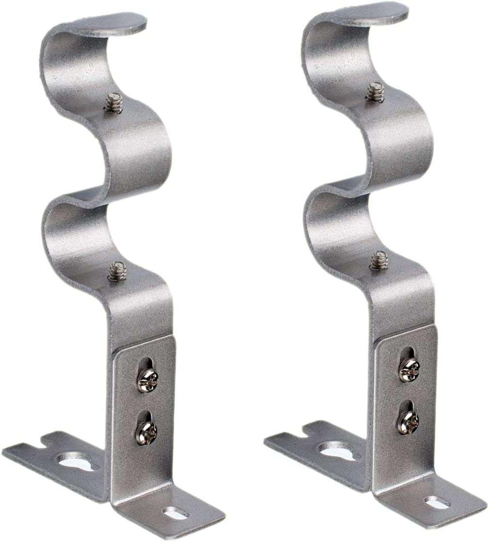 Nuoda Double Curtain Rod Brackets, 2pcs Wall Bracket,Durable and Stable (Silver)