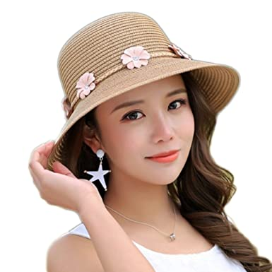 Westeng Sun Hat Ladies Women Beach Straw Hat Summer Sun protection ... 2c7dff68a9f