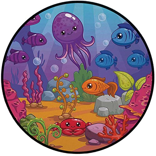 Chair Mocha Stone - Printing Round Rug,Whale,Underwater World Aquarium Cartoon Octopus Reef Seaweed Stones Bubbles Illustration Mat Non-Slip Soft Entrance Mat Door Floor Rug Area Rug For Chair Living Room,Multicolor