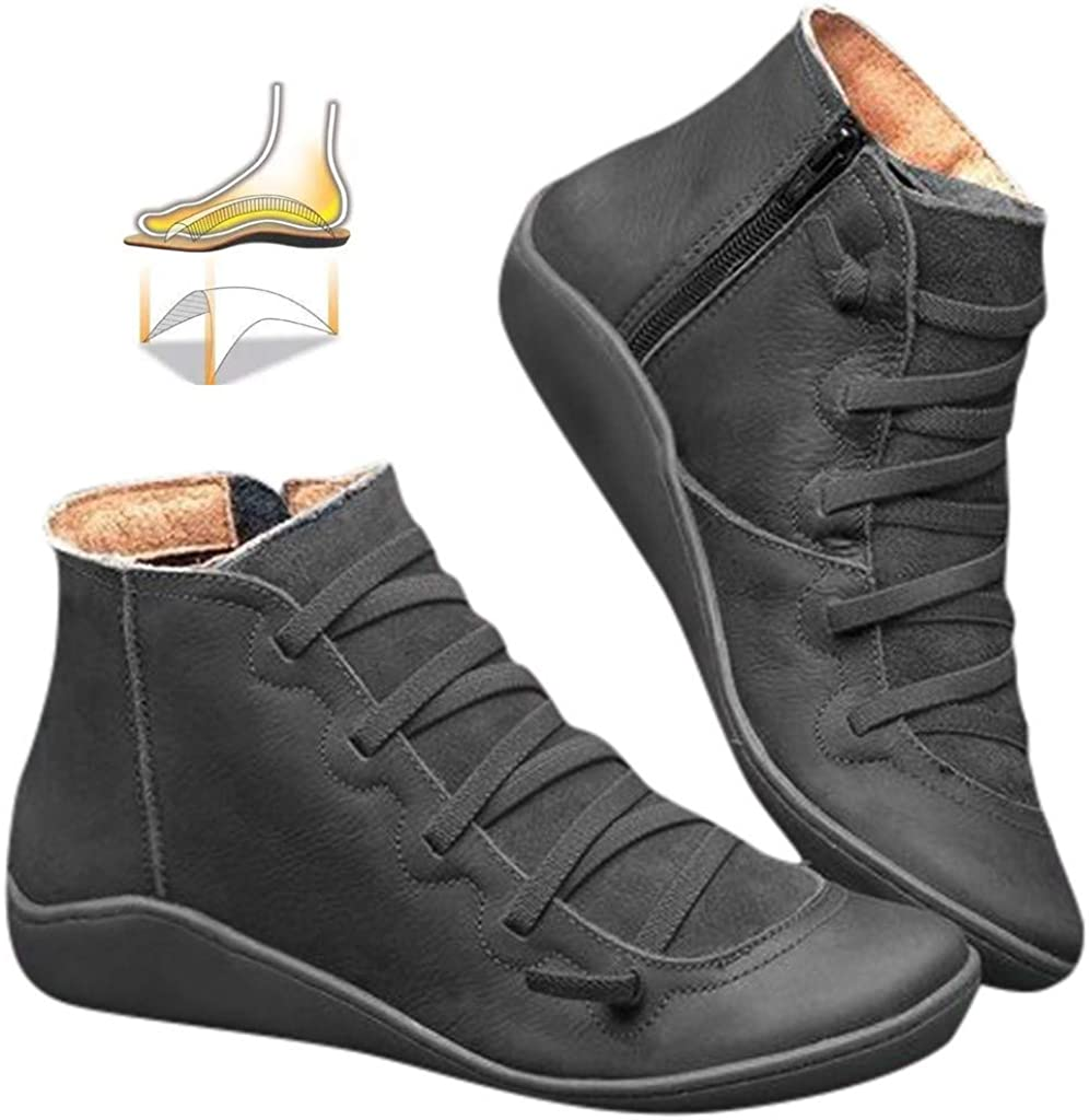 2019 New Womens Arch Support Ankle Boots with Zipper Lace Up, Comfortable Flats for Girlfriends and Mother BaojunHT® Black