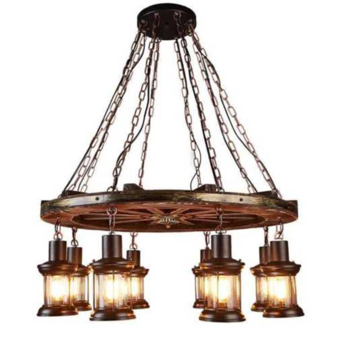 Flashing god farmhouse lighting retro iron wooden chandelier 8 wind lamps light bulbs rustic antique ceiling lamp lighting fixtures amazon com