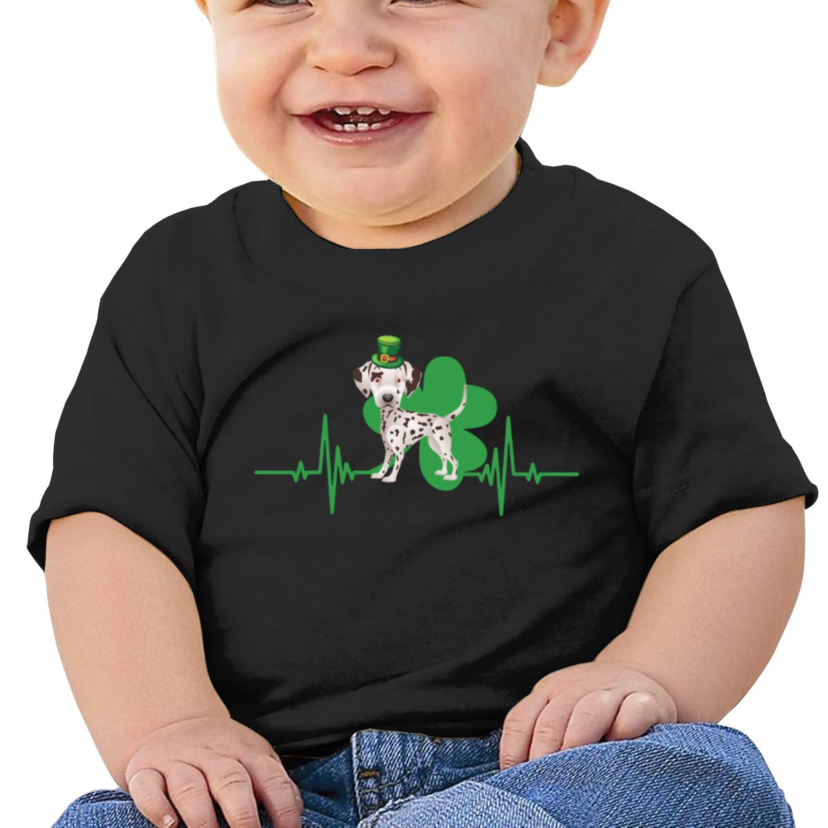 Dalmatian Dog with A Clover Hat and Heartbeat Short-Sleeve Shirts Baby Boy