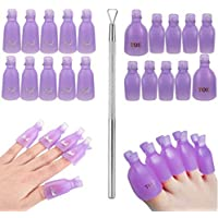 Acrylic Nail Tips & Foot Soak Off Clip Cap + Stainless Steel Nail Polish Scraper Remover UV Gel Soaking Wraps & Peeler Tool