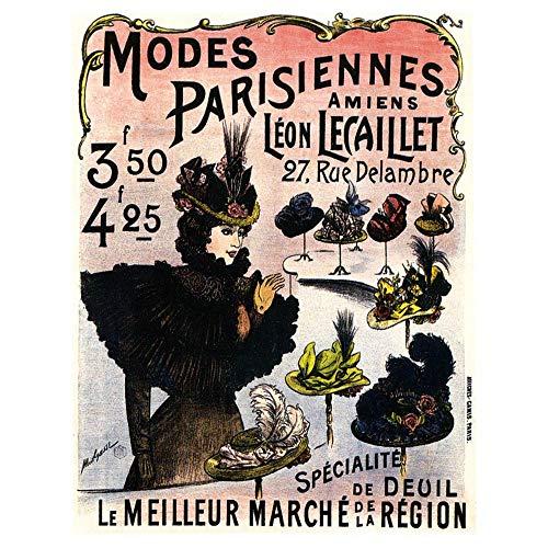 Wee Blue Coo Advertising Parisian Fashion Retro Hat Unframed Wall Art Print Poster Home Decor Premium ()