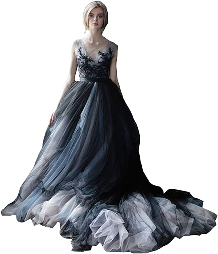 Women's White and Black Lace Gothic Wedding Dress