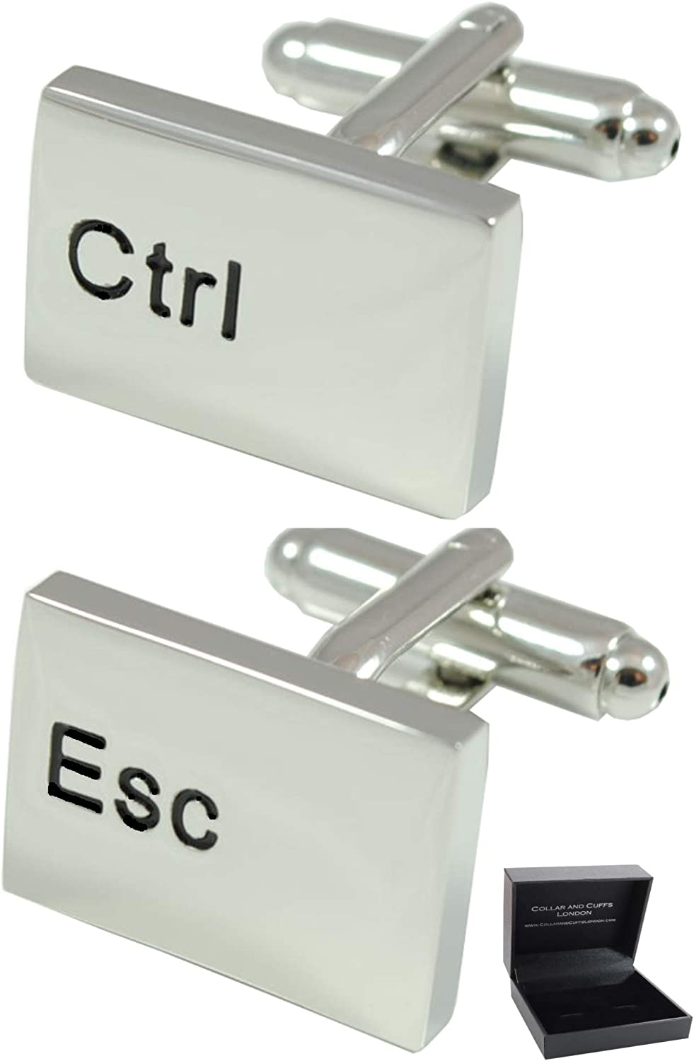 COLLAR AND CUFFS LONDON - Premium Cufflinks with Gift Box - Ctrl Esc Computer Keyboard - Solid Brass - Rhodium Plated - IT PC Key Rectangle Oblong Modern - Silver Color
