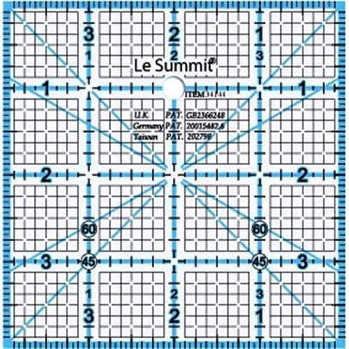 Le Summit 4 Inch X 4 Inch Quilting Ruler Clear Acrylic Ruler