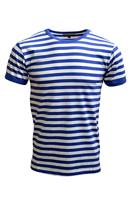 1960s Style Men's Clothing, 70s Men's Fashion Mens 60s Retro Royal & White Striped Short Sleeve T Shirt $19.95 AT vintagedancer.com