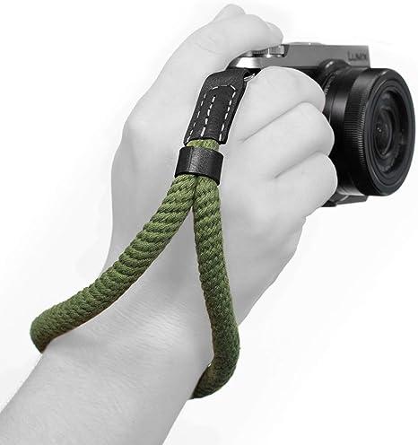 MegaGear – pequeño de algodón cámara Correa de Mano muñeca – Verde ...
