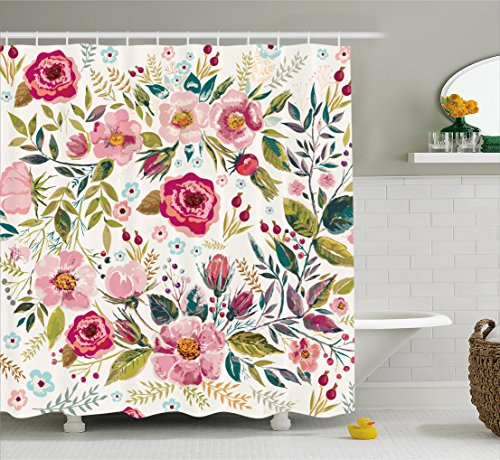 Chic Shower - Ambesonne Floral Shower Curtain by, Shabby Chic Flowers Roses Pedals Dots Leaves Buds Spring Season Theme Image Artwork, Fabric Bathroom Decor Set with Hooks, 70 Inches, Multicolor
