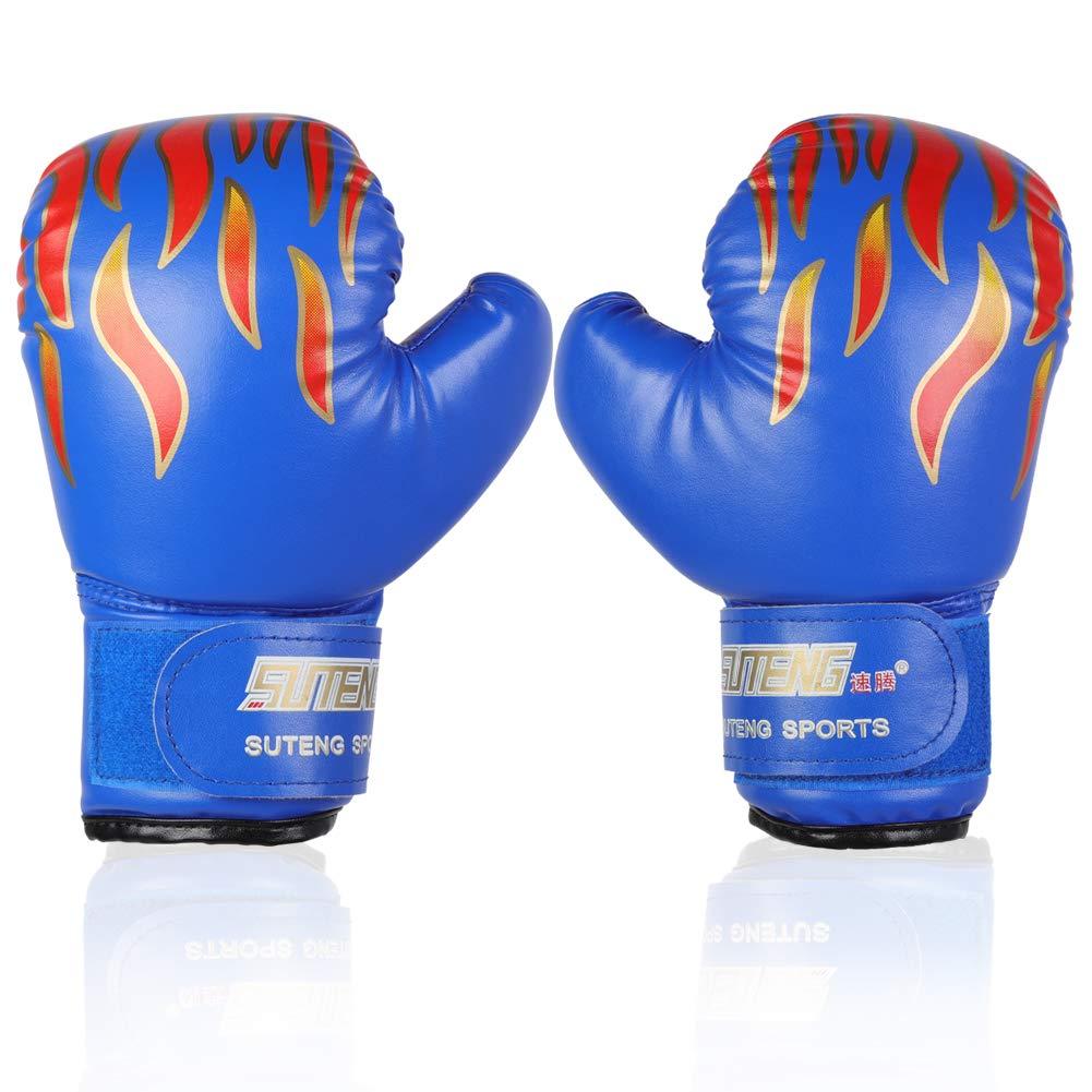 子供用ボクシンググローブPU sparringpunchingトレーニンググローブfor Age 3 – 12年 ブルー