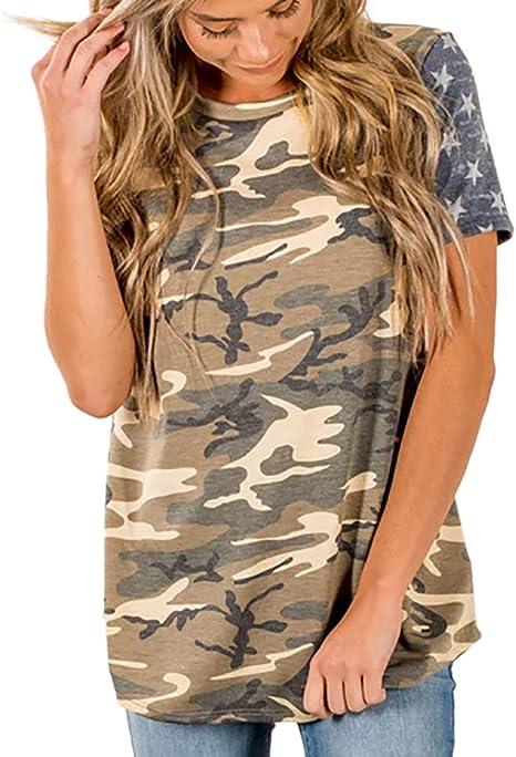 WDFSER Camiseta Camisa con Estampado de Camuflaje para Mujer Tops de Manga Corta Sexy Camiseta de Camuflaje Camisetas Camisetas con Cuello en O de Verano: Amazon.es: Deportes y aire libre