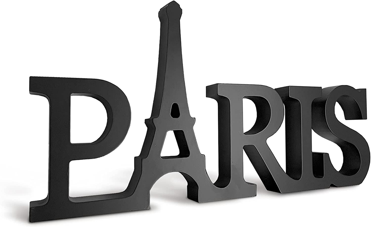 Paris Decor for Bedroom Word Sign (Black) Parisian Themed Eiffel Tower Decor for Girls Bedroom, Elegant Paris Bathroom Decor Ideal as French Room Accent or Wall Art, Stylish Paris Gifts for Women