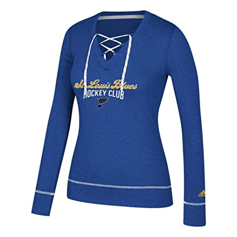 best sneakers 74dfa c61d3 adidas Women s St. Louis Blues Long Sleeve Skate Lace Top (Medium)