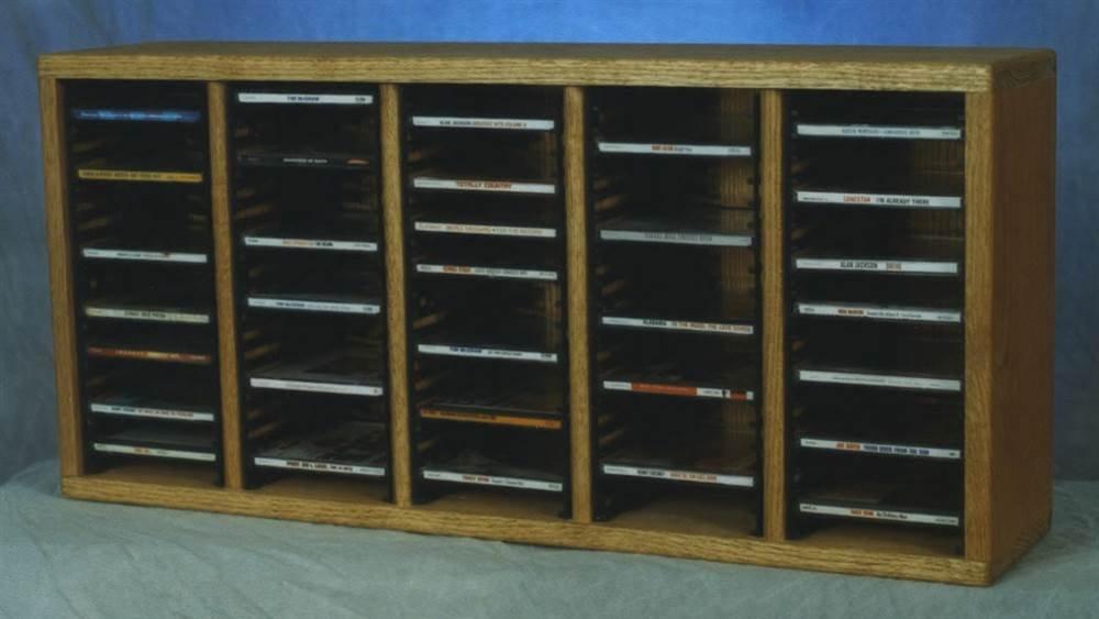 Solid Oak desktop CD Storage (Dark) by Wood Shed