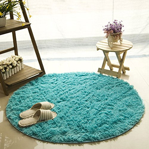 FUT Oval Childrens Place Mats - Fluffy Rugs Anti-Skid Shaggy Area Rug, Multi Colors Carpets, Baby Child Kids Playing Floor Mats Best for Dining Room Home Bedroom Decoration
