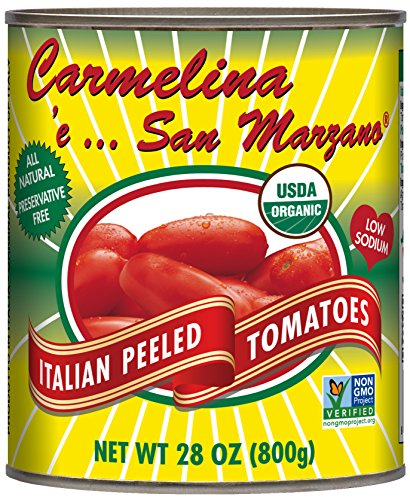 (Carmelina San Marzano Organic Italian Whole Peeled Tomatoes in Puree, 28 ounce (Pack of 6))