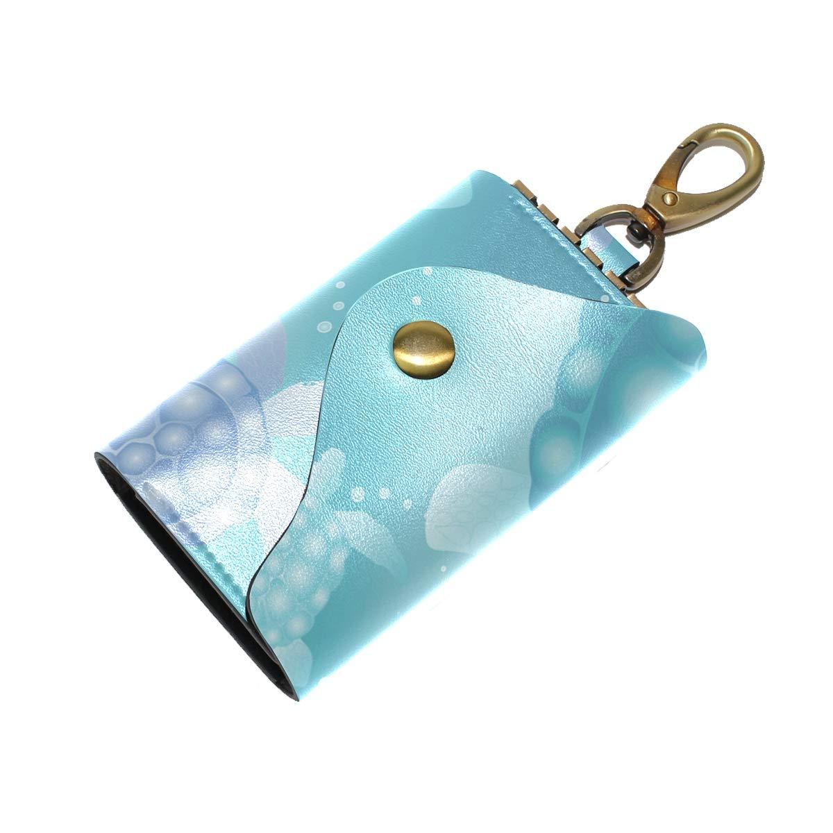 KEAKIA Sea Turtles Leather Key Case Wallets Tri-fold Key Holder Keychains with 6 Hooks 2 Slot Snap Closure for Men Women
