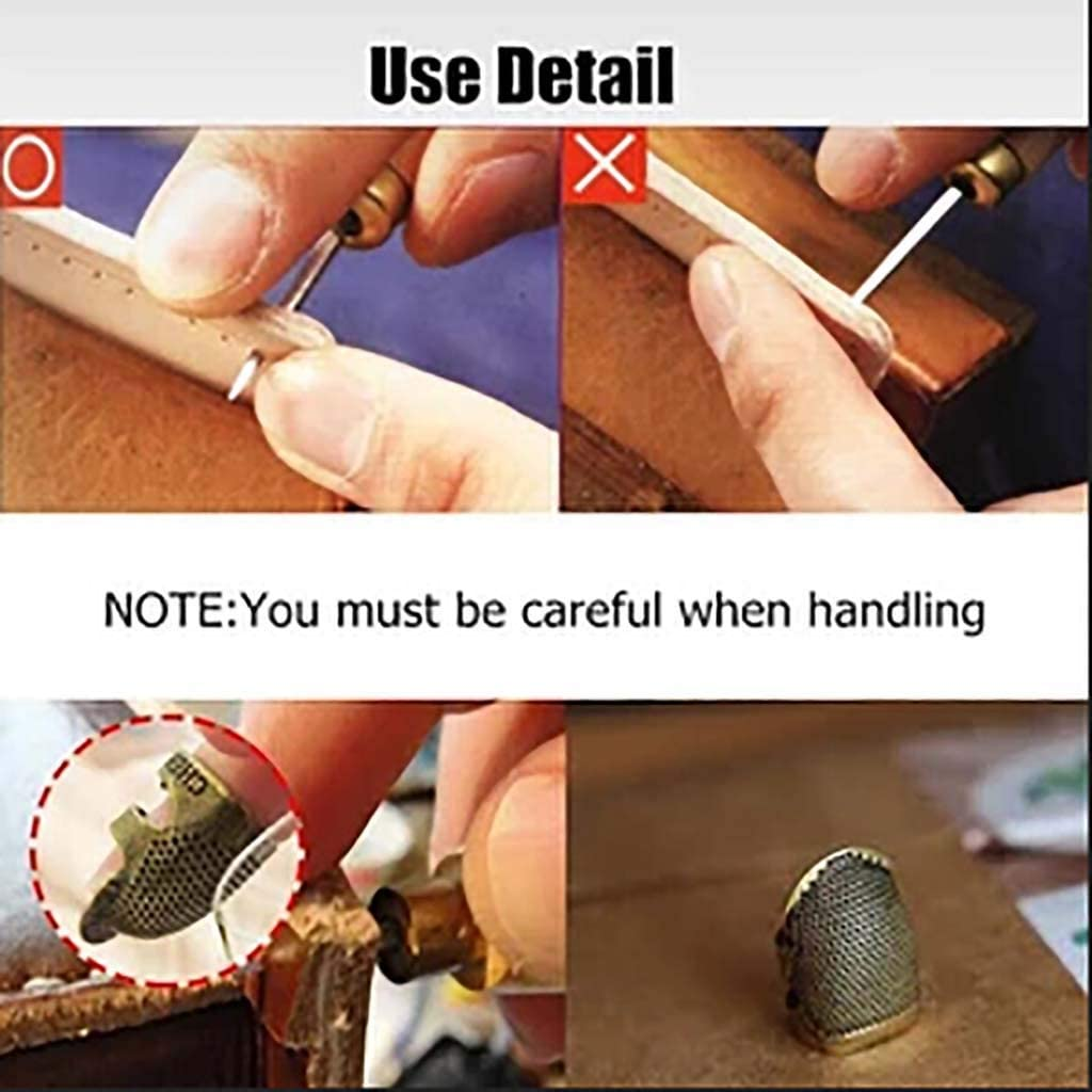 Thimble Adjustable Finger Shield Ring Fingertip for Sewing Embroide Brown, S Thimble Sewing Quilting Craft Accessories Liyes Copper Finger Protector