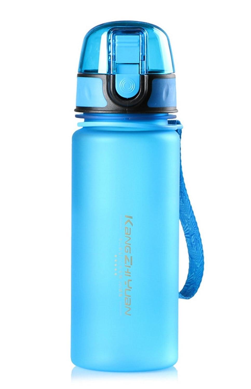 zhonglan botella de agua de plástico esmerilado -400 ml-food grado material-perfect para niños creativos, aula, la escalada en roca, plástico, azul, ...