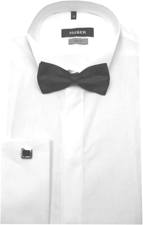 Huber 1351 Camisa de Esmoquin Blanco Noche Camisa con Pajarita Negro sobre Puños S a XXL Ajustado - Blanco, M / 39/40: Amazon.es: Ropa y accesorios
