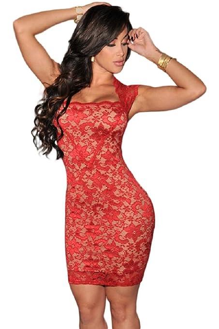 Nueva mujer rojo y desnuda encaje vestido Club Wear tarde vestidos de fiesta verano talla M