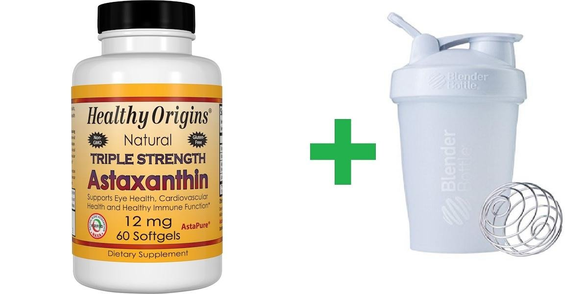 Healthy Origins, Natural Triple Strength Astaxanthin, 12 mg, 60 Softgels + Assorted Sundesa, BlenderBottle, Classic With Loop, 20 oz
