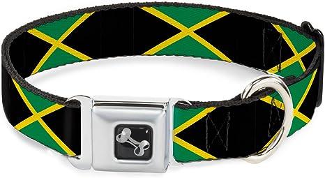 Buckle Down Jamaica Banderas Hueso Collar de Perro, mediano/11 ...