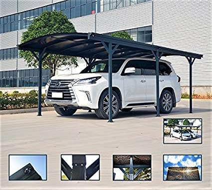 ITALFROM Carport Marquesina para Coche (policarbonato y Aluminio – 576 X 300 cm de Exterior