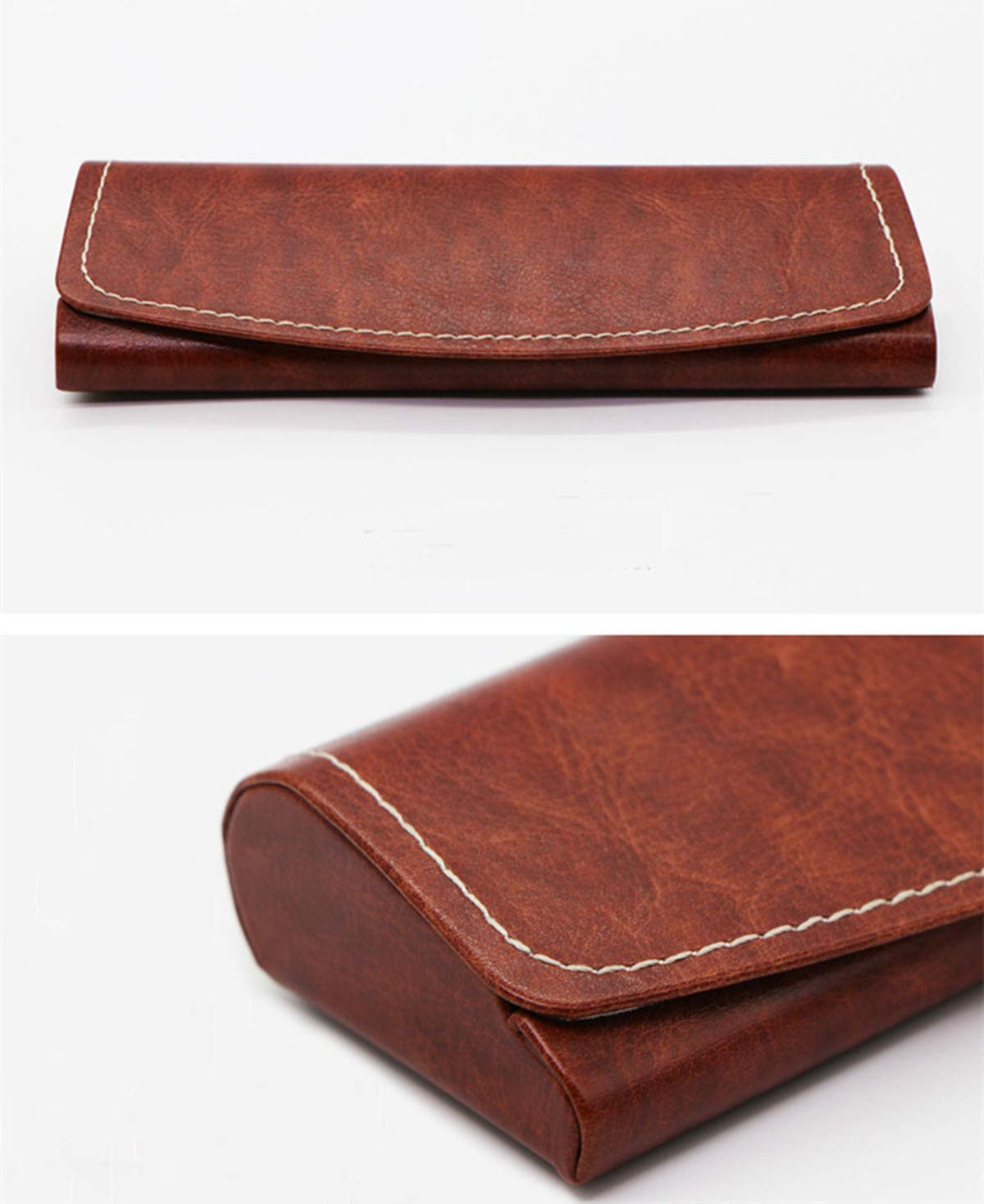 PU Leather Hard Shell Eyeglass Case Portable Sunglasses Glasses Holder Pouch (Brown) by Bauson (Image #3)