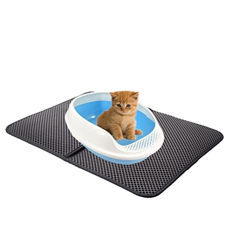 Sue Supply Alfombrilla de arena para gatos, diseño de doble capa con material resistente al