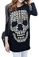 New Oversized Skulls Emo Goth Punk Rock Skull Cool Sexy Perforated Sleeve Top