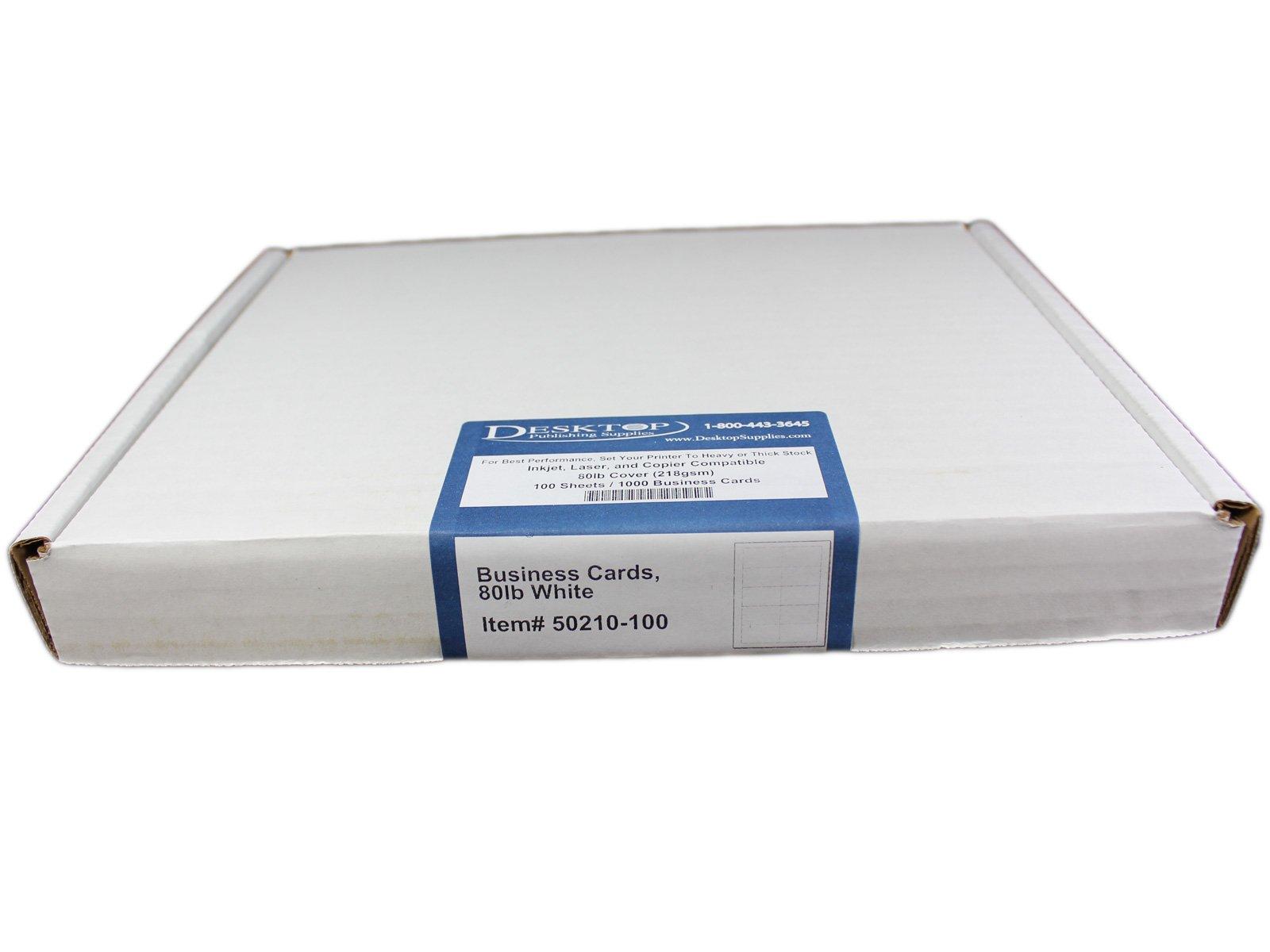80lb White Blank Business Cards - 100 Sheets / 1000 Business Cards - Inkjet & Laser