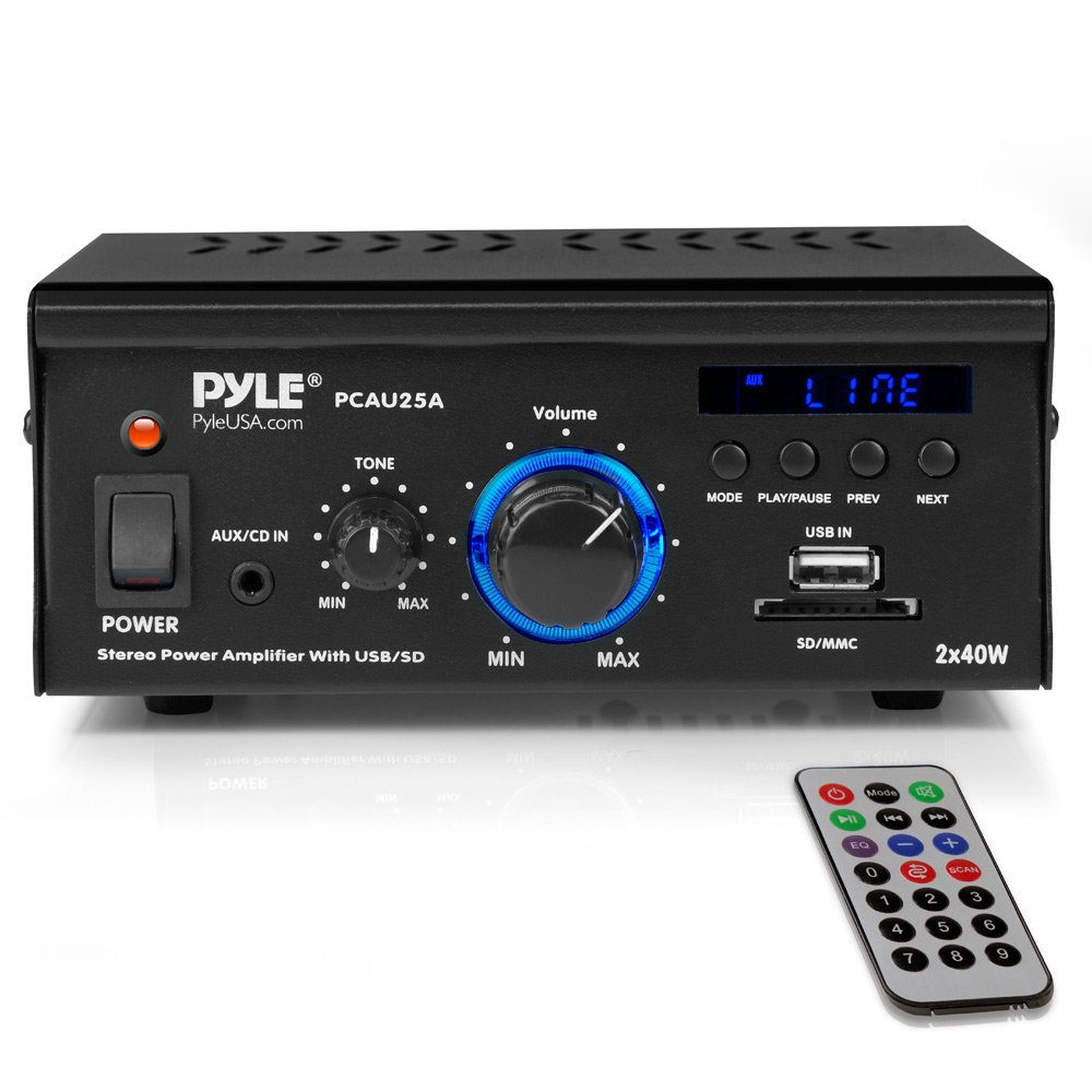 Home Audio Power Amplifier System - 2x40W Dual Channel Mini Theater Power Stereo Sound Receiver Box w/USB, RCA, AUX, LED, Remote, 12V Adapter - for Speaker, iPhone, Studio Use - Pyle PCAU25A